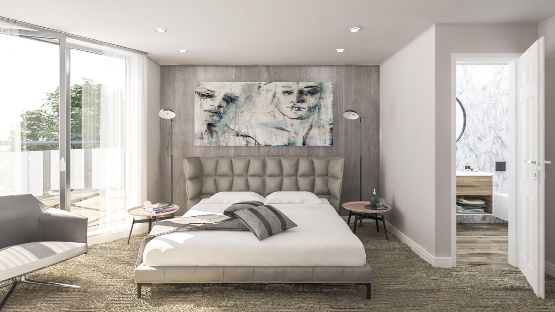 Спалня с личен санитарен възел на апартамент 408B  в комплекс Атлантис Атмосфера
