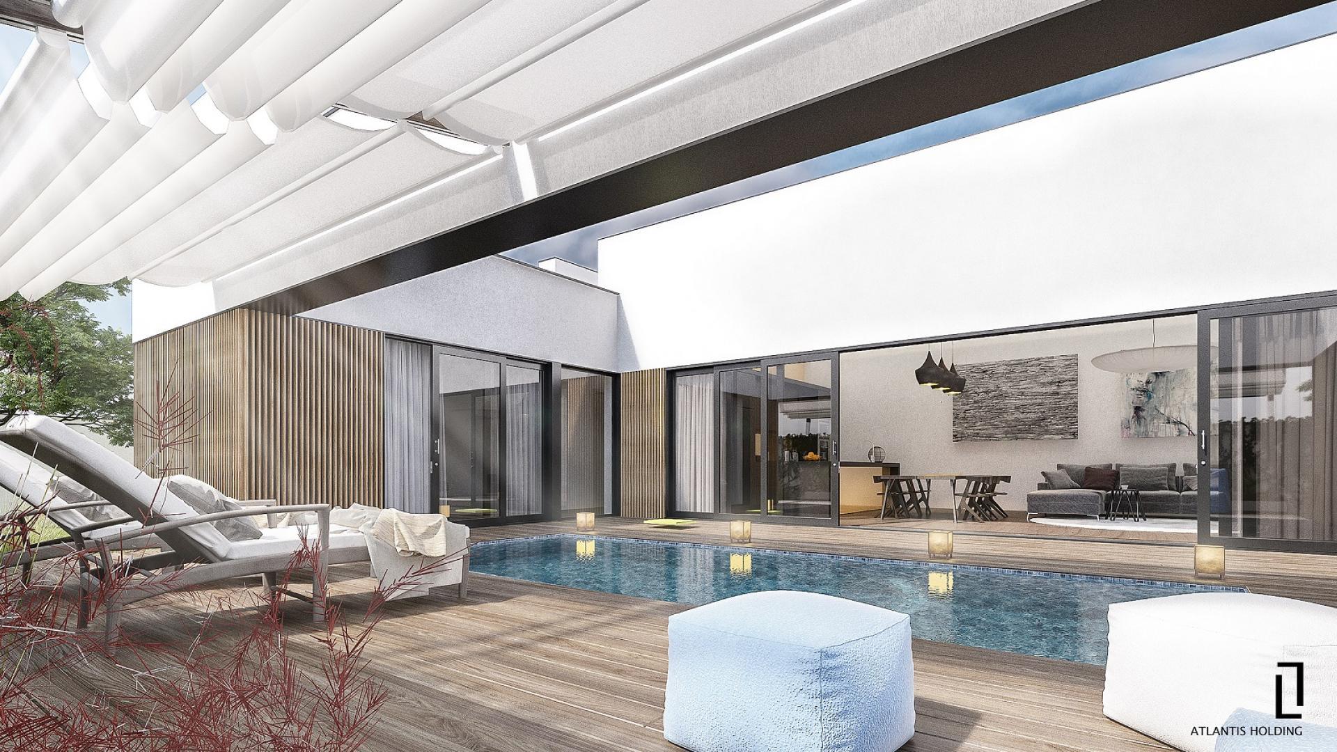 визуализация на частен двор с басейн и поставена пергула с поглед към хол/ трапезария