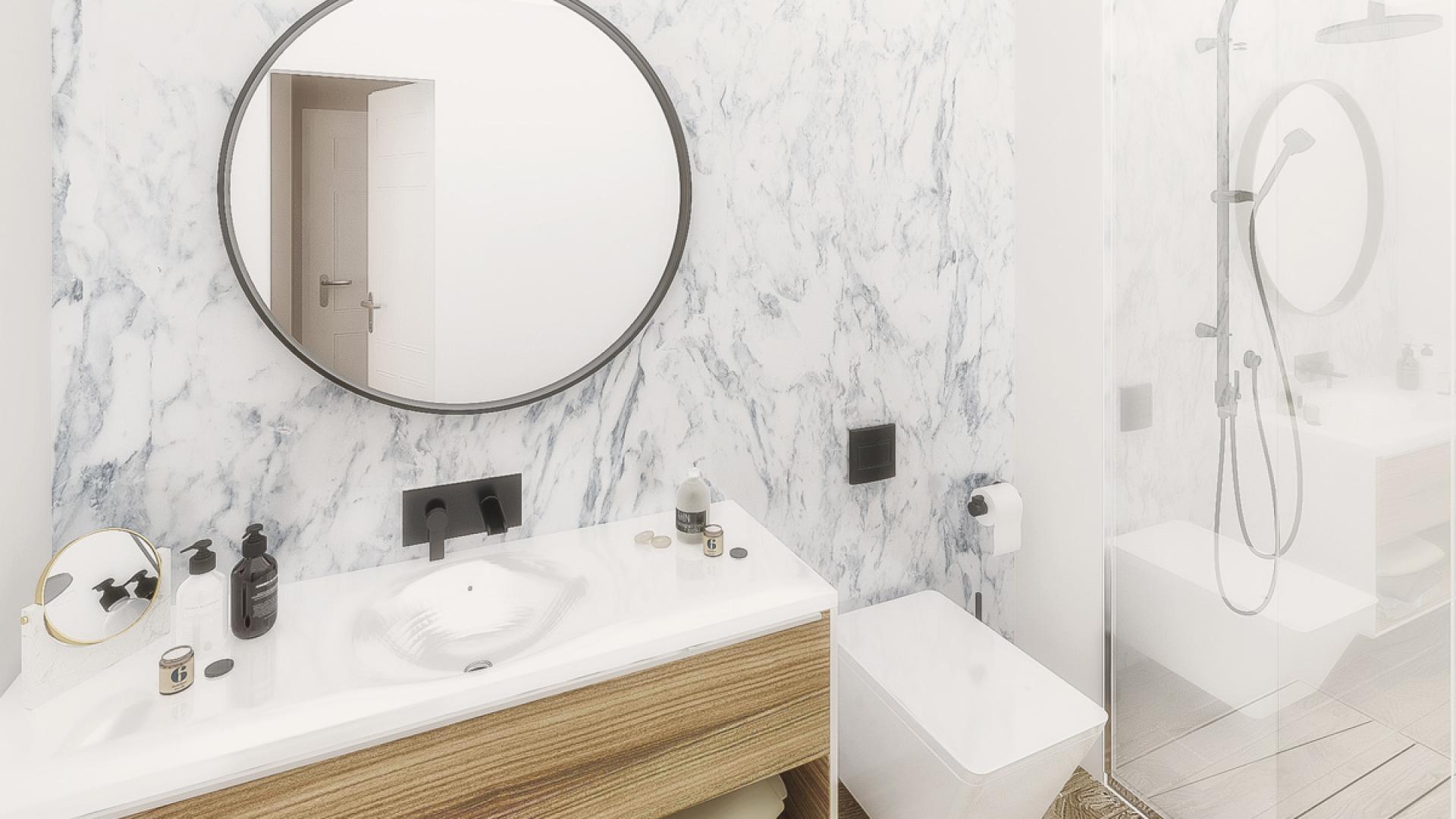 Разпределение баня и тоалетна на триестаен апартамент 408B в комплекс Атлантис Атмосфера