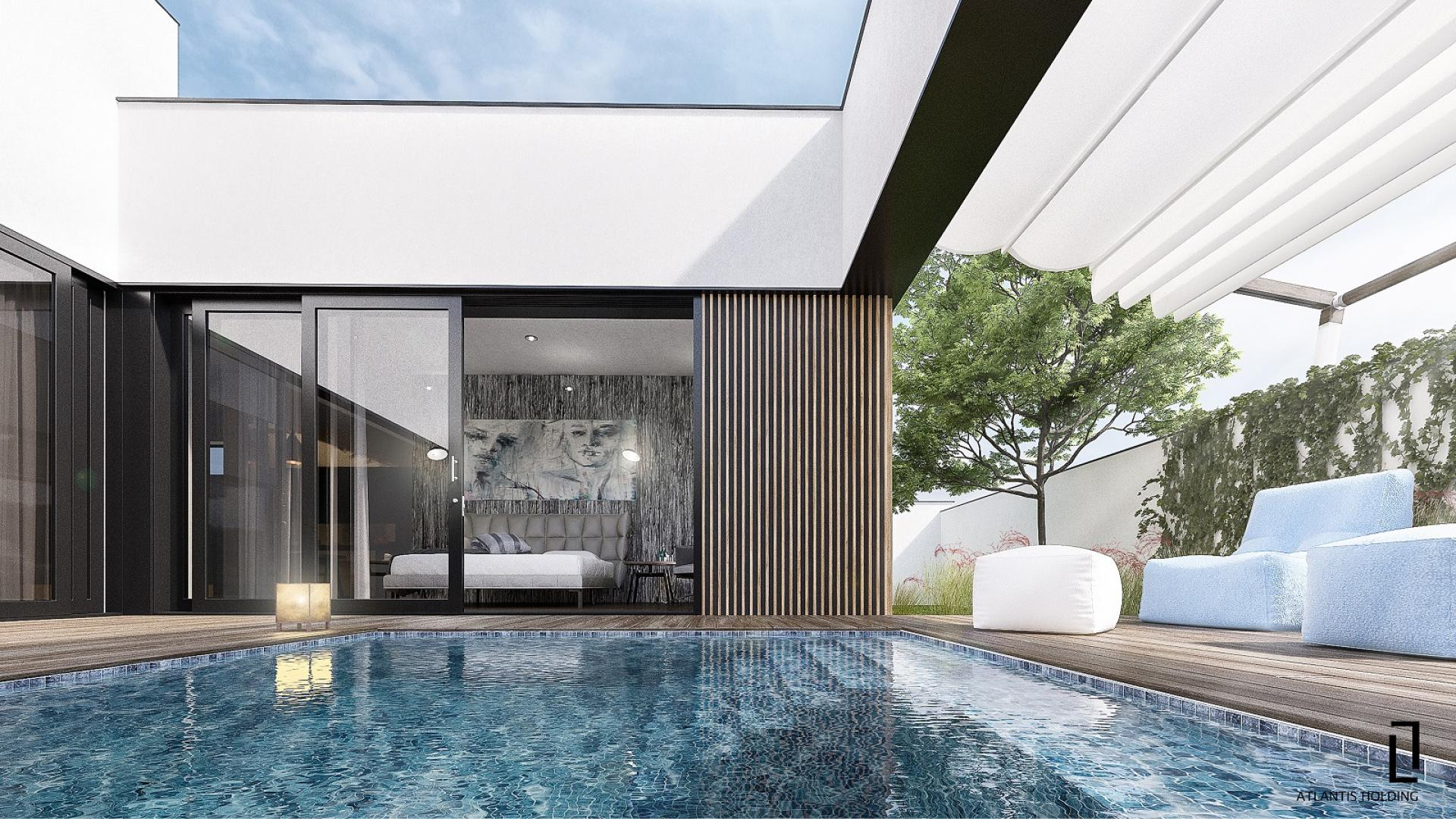 вътрешен поглед как може да изглежда частния двор с басейн и шезлонги с достъп до една от спалните